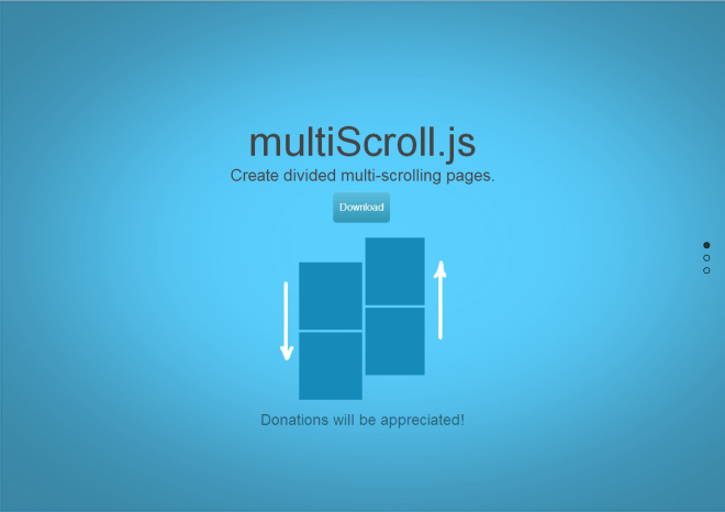 【jQuery】最近流行りの二分割レイアウトが簡単に実装出来るプラグイン「multiScroll.js」