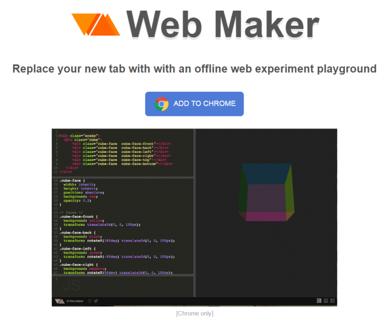Web Maker   Easy  quick and offline web experiment playground