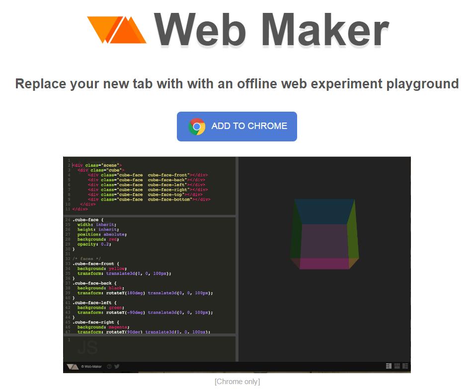 CodepenのようにHTML/CSS/JavaScriptをサクッとプレビューできるChrome拡張機能「Web Maker」