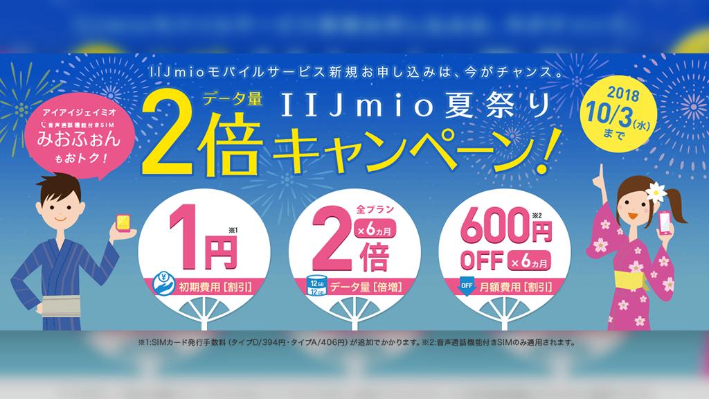 IIJmio、新規契約で初期費用1円+データ量倍増+音声プラン648円引きの「夏祭り データ量2倍キャンペーン」を開始