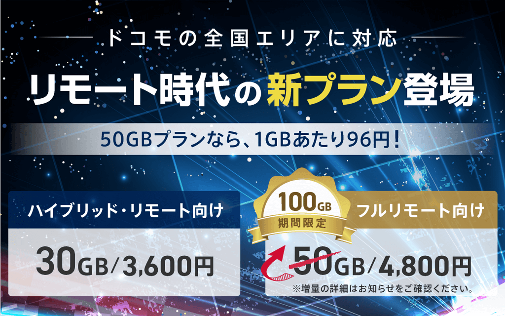 NifMo、リモートワーク向けの大容量プランを提供開始。50GBプランは12月末まで100GB使える!